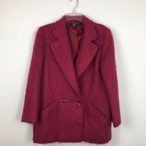 VTG 80's George David Fashions Pink Wool Coat. XL
